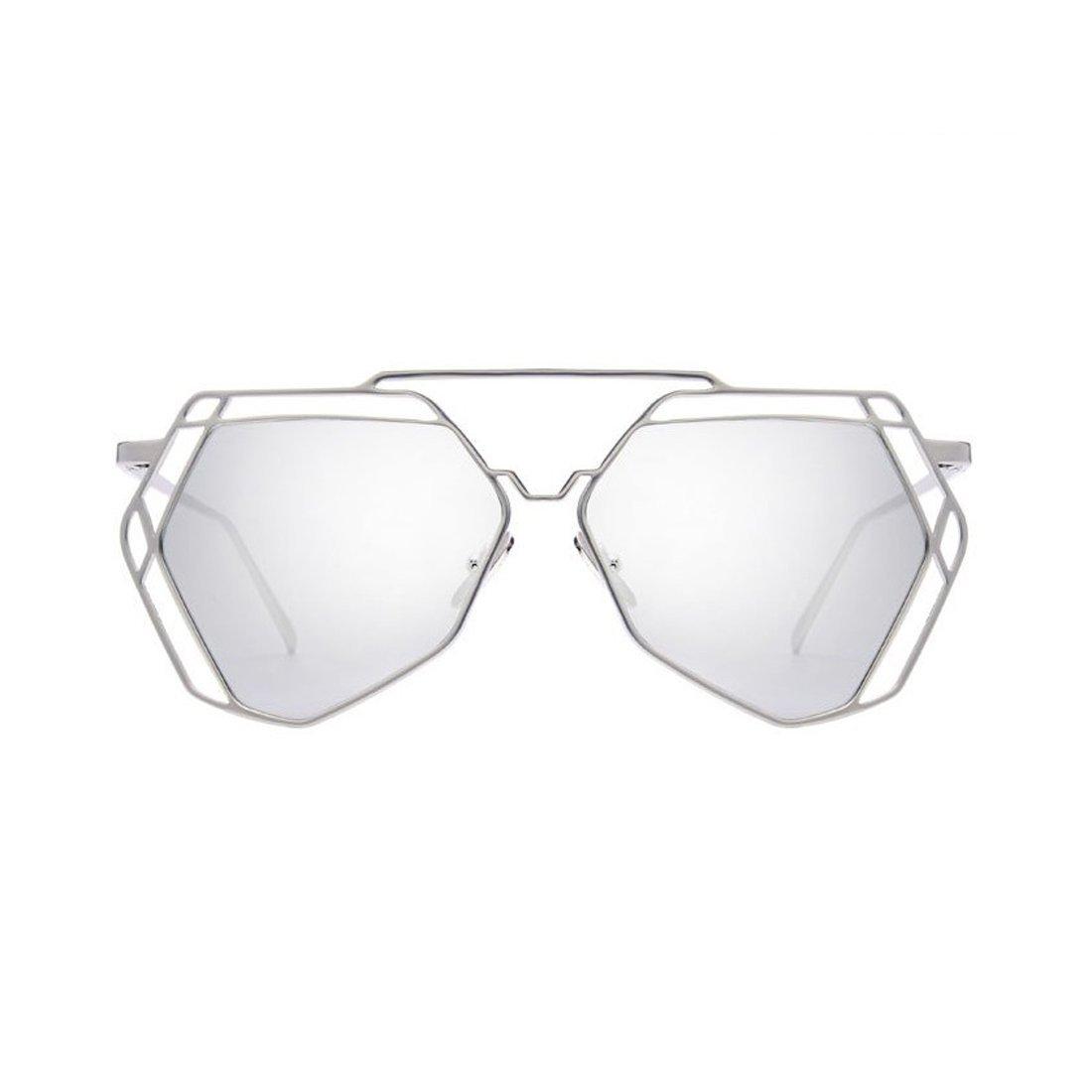 c2c9be9ff3 Amazon.com  Blue Sunglasses women Hollow Out Metal Frame Design Hexagon  UV400 Protection Sun Glass  Clothing