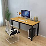 Dripex Office Computer Desk 45'', Modern Style Steel Frame Wooden Table - Computer Desk for Study PC Laptop Writing Table Easy to Install Stationary Workstation for Home & Office (Black)