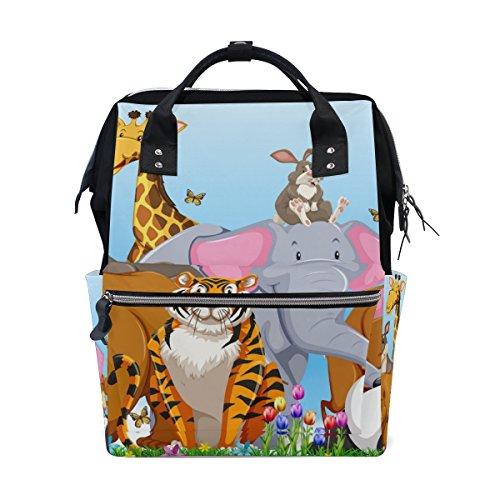 044893c63b61 MAPOLO Wild Animals Tiger Panda Elephant Giraffe Bear in The Field Diaper  Backpack Large Capacity Baby Bag Multi-Function Nappy Bags Travel Mom ...
