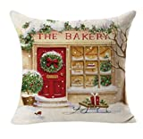 Decorative Pillow Cover - Rukiwa Christmas Linen Square Throw Flax Pillow Case Decorative Cushion Pillow Cover