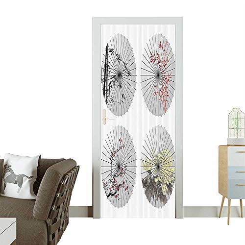 Door Sticker Wall Decals Oriental Umbrella Shapes with Cherry Blossom Bamboo Patterns Parasol Artwork Easy to Peel and StickW35.4 x H78.7 INCH