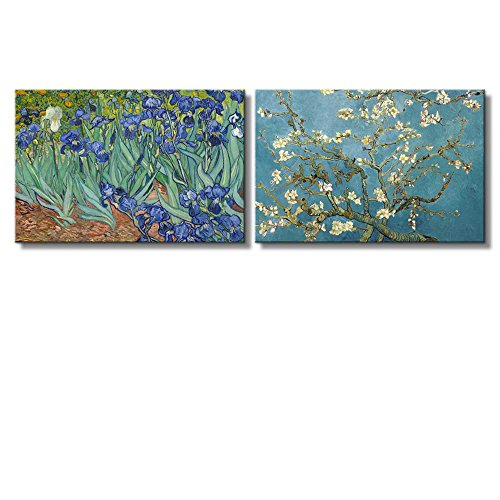 Irises Almond Blossom by Vincent Van Gogh Oil Painting Reproduction in Set of 2 x 2 Panels