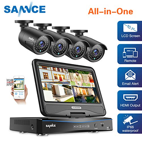 True All-in-One Wired Security Camera System with Built-in 10.1 LCD Monitor,SANNCE 4CH 1080P Surveillance DVR Recorder with 4Pcs Metal 120ft Night Vision Cameras, Easy Remote Access No HDD Included