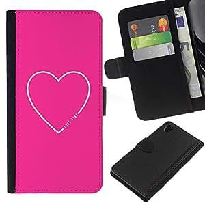 WINCASE (No Para Z2 Compact) Cuadro Funda Voltear Cuero Ranura Tarjetas TPU Carcasas Protectora Cover Case Para Sony Xperia Z2 D6502 - cita corazón el amor de texto minimalista