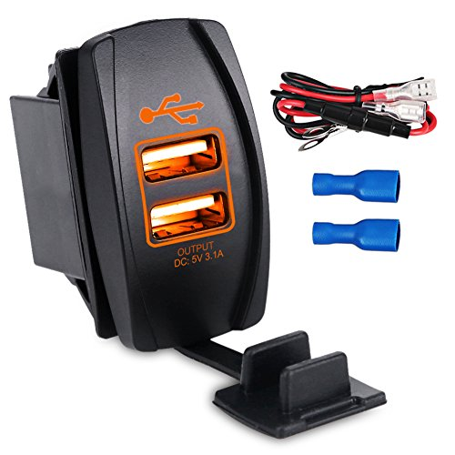 WATERWICH 5V 3.1A Marine Dual USB Car Charger Adapter Socket Waterproof with in-line Fuse for Universal Rocker Switch Boat RV Vehicle SUV Truck Yacht (3.1A with Orange LED Light)