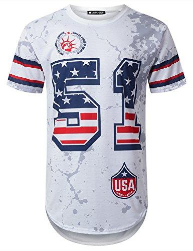 URBANCREWS Mens Hipster Hip Hop Varsity 51 USA Flag Longline T-Shirt White, - 51 Usa