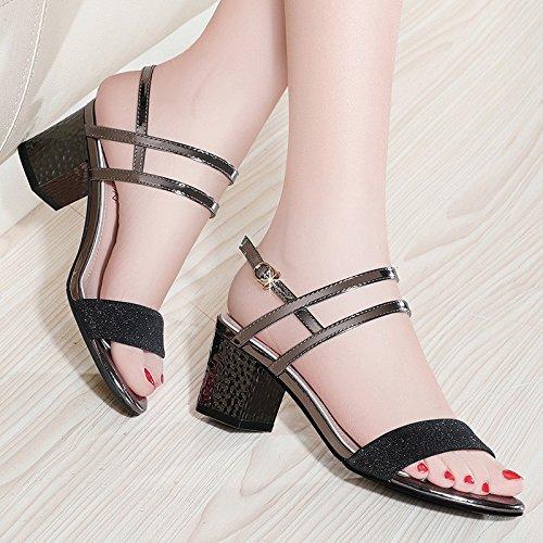 zapatos de sandalias Tacones altosLa tacón zapatos Black de Sra alto mujer HUAIHAIZ O78WA