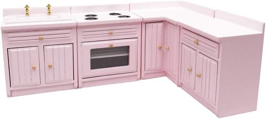Yi Achieve Dollhouse Miniature Kitchen Cabinet 1 12 Dollhouse Wooden Kitchen Furniture Doll House Kitchen Supplies Pink Amazon Co Uk Kitchen Home