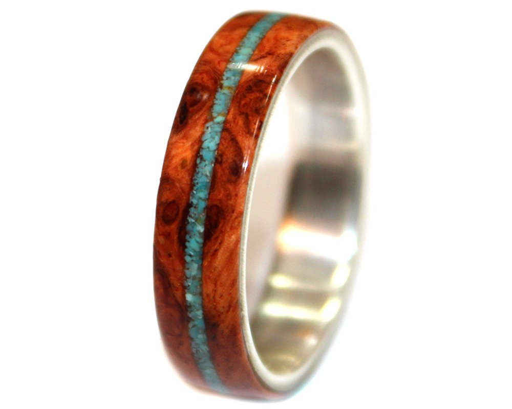 Wooden Ring of Amboyna Burl, Turquoise Inlay and Sterling Silver