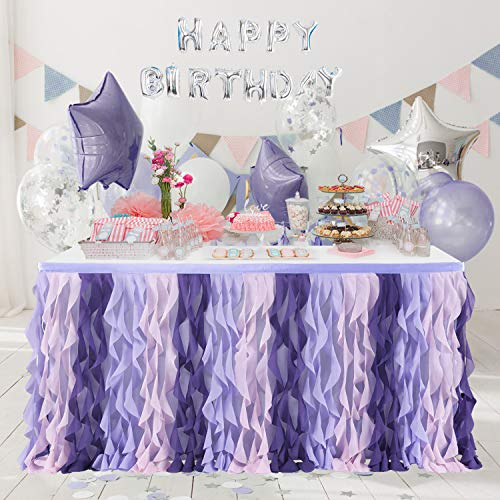Purple Curly Willow Table Skirting Mermaid 6ft Lavender Table Skirt for Baby Shower Girl Tulle Table Skirt for Round or Rectangle Table for Birthday Gender Reveal Wedding Bridal Party