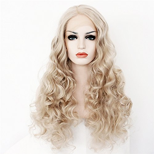 Leyee Blonde Long Body Wave Wavy Full Wigs Synthetic Lace Front Wigs Heat Resistant Fiber Hair (Drag Queen Halloween Ideas)