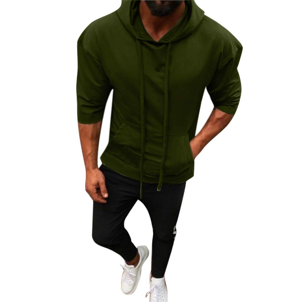 NUWFOR Men Splicing Button Pullover Seven Point Sleeve Hooded Sweatshirt Tops Blouse(Green,S US/M AS Bust:37.7''