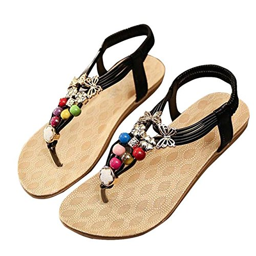 Price comparison product image Clearance!Hot Sale!  Women Sandals, Neartime Summer Bohemia Style Gem Sweet Beaded Sandals Clip Toe Sandals Beach Shoes (US9.5, Black)