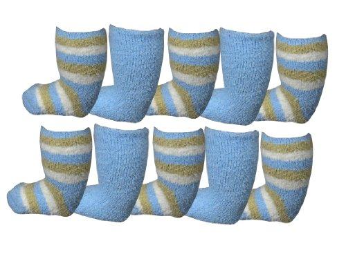 **Great Value** Babies 10pk Soft & Cosy Fleece Socks (0-2 FOOTSIZE, PALE...