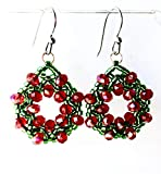 Christmas Wreath Dangle Earrings Green and Red Holiday Jewelry Round Xmas Party Accessories Gifts For Her Unique Gift Ideas