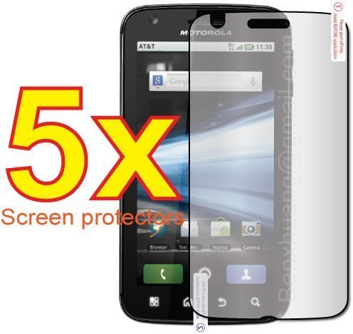 5x Motorola ATRIX 4G MB860 Premium Clear LCD Screen Protector Cover Guard Shield Flim (Premium Lcd Screen Protector)