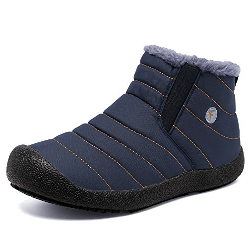 EQUICK Men and Women Snow Boots Fur Lined Winter Outdoor Slip On Shoes Ankle Boots,H.blue-39
