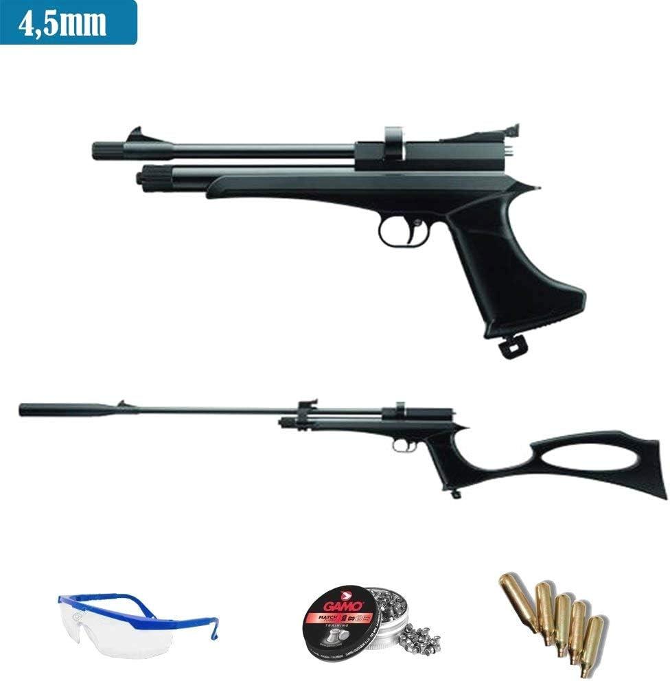 Ares Pack Pistola-Escopeta de Aire comprimido Stinger Arma de CO2 y balines (perdigones de Plomo Cal 4.5mm o 5.5mm) <3,5J