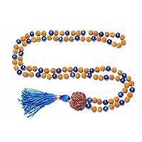 Healing Stones Mala Beads Japamala Rudraksha, Blue Jade Stone Yoga Necklace