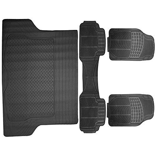 SCITOO Universal Car Floor Mats, Durable Rubber Anti-Skid Heavy Duty Floor Mats fit Cars Trucks Vans Suvs Black - Front+Rear(4pcs)