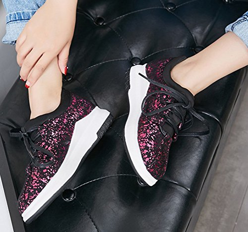 SHOWHOW Womens Casual Sequins Round Toe Lace Up Sneaker Red b34D7