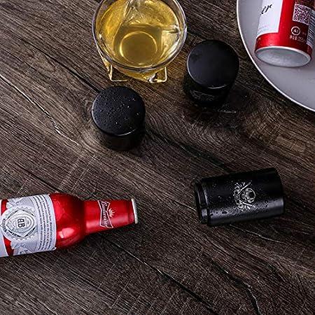 Abridor de botellas de cerveza multicolor de acero inoxidable abridor de botellas de vino imán portátil herramienta de bar, simple y fácil de usar (abridor de botellas magnético) (negro Creek)