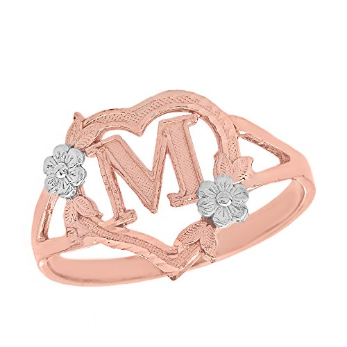 CaliRoseJewelry 10k Two-Tone Initial Alphabet Personalized Heart Ring in Rose and White Gold (Size 5) - Letter M