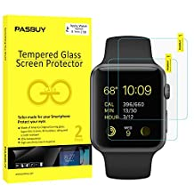 PASBUY 2 Pack Super thin 0.1mm [ America Glass ] Premium Tempered Glass film Screen Protector-Retail packing for Apple Watch 42mm