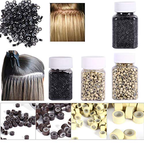 Euone  Hair Extension Beads Clearance Sale , 1000 PCS Hair Extension Micro Rings Silicone Micro Loop Hair Beads 5MM Random Color
