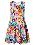 Jxstar Little Girls Animal Print For Skater Cartoon Rainbow Dog Pattern Sleeveless Dress Rainbow Dog 130