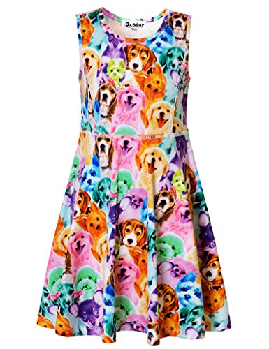 Jxstar Big Girls Animal Print for Skater Cartoon Rainbow Dog Pattern Sleeveless Dress Rainbow Dog 140]()