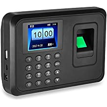 HFeng 2.4 inch Biometric Fingerprint attendance Machine USB Finger Scanner Time Card Locker Free Software Password Employee Checking-in Recorder 600 Users for Office/Home