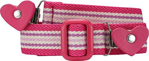 Playshoes Mädchen Gürtel 601231  Elastischer gestreifter Kindergürtel mit Clips in Herzform, passend bei Größe 116-140, Gr. one size, Rosa (pink/gestreift)
