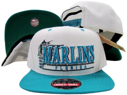 - American Needle Florida Marlins White/Teal Snapback Adjustable Plastic Snap Back Hat/Cap