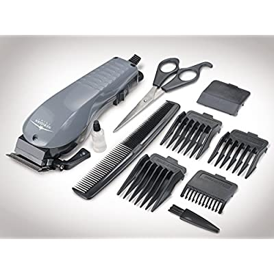 10 Piece Hair Clipper Set With Adjustable Electric Hair Clippers, Salon Scissors, Barbers Comb, Attachments And More - Complete Haircut Kit