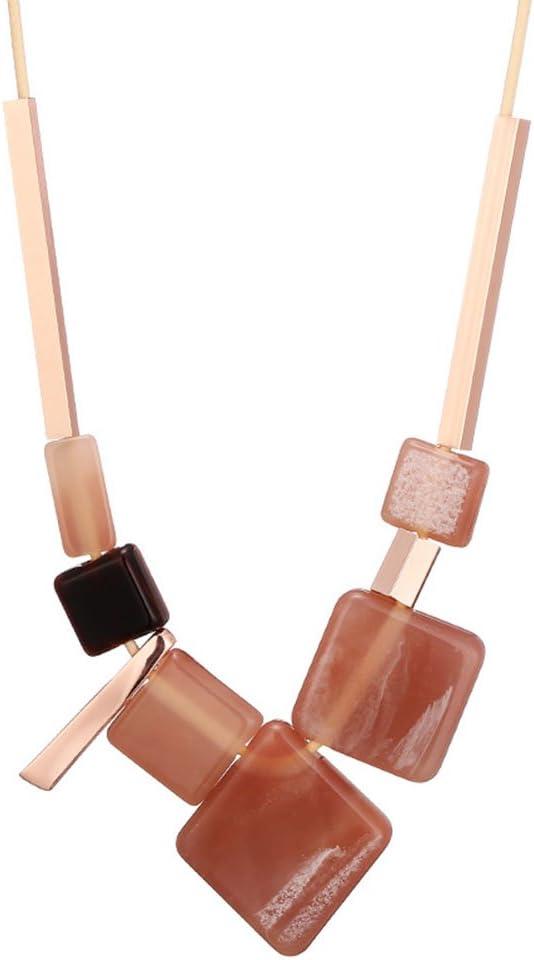 Z&HA Collar De Mujer Collar Babero Accesorios De Vestir Cadena De Cuero Larga Desgaste Cuadrado Colgante De Acrílico Joyería Original