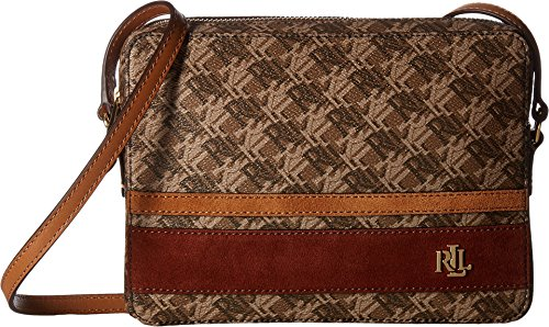 LAUREN Ralph Lauren Women's Dobson Siena Crossbody Brown/Auburn/Caramel Stripe One - Bag Lauren Brown Ralph
