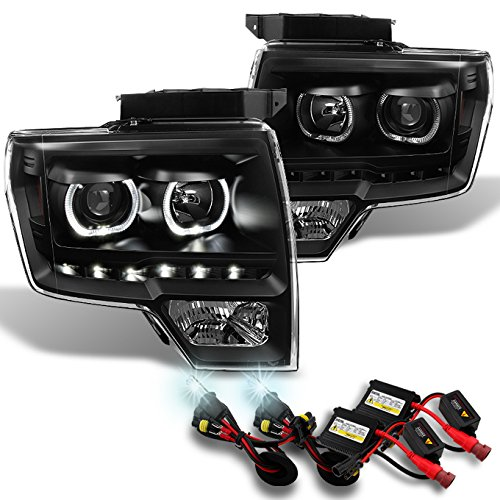 Ford F150 BlackExclusive Halo Projector SMD DRL LED Headlights + Slim Ballast 6000K White HID -