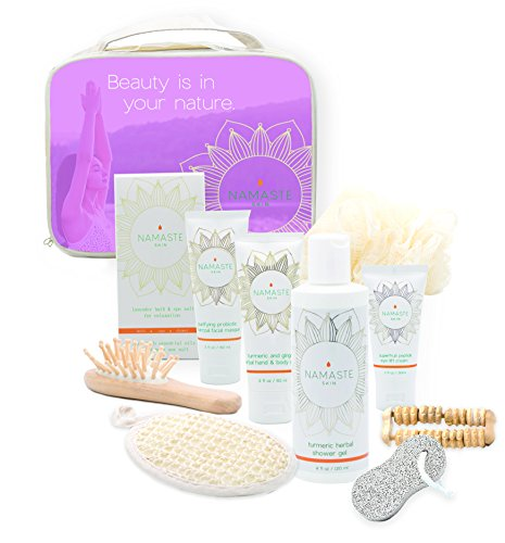 Valentine's Day Special – 11-Pieces Lavender Bath & Body Home Spa Gift Set with Charcoal Masque, Super-fruit Eye-Lift Cream, Hand & Body Lotion, Shower Gel, Bath Salt, Shower Pouf, Sisel Sponge & More