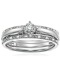 Sterling Silver Diamond Bridal Set (3/20 cttw, I-J Color, I2-I3 Clarity)