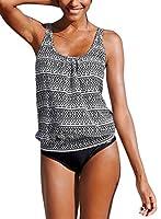 Happy Sailed Women Strappy 2 Piece Padding Fashion New Tankini Bikini Bottoms, X-Large Blue Black