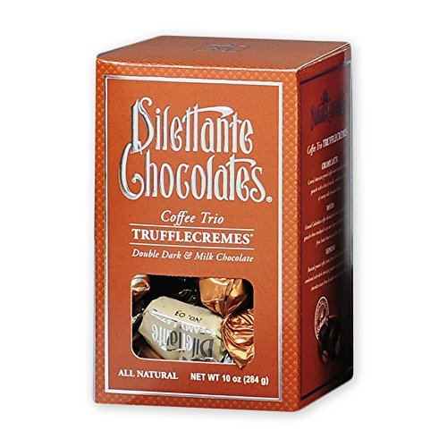 Coffee Trio TruffleCremes in Dark & Milk Chocolate - Mocha, Latte & Espresso - 10oz Gift Box - by Dilettante (3 Pack)