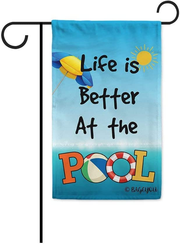 BAGEYOU Life is Better at The Pool Summer Garden Flag Beach Volleyball Sun Umbrella Lifebuoy Decor Banner for Outdoor 12.5X18 Inch Printed Double Sided