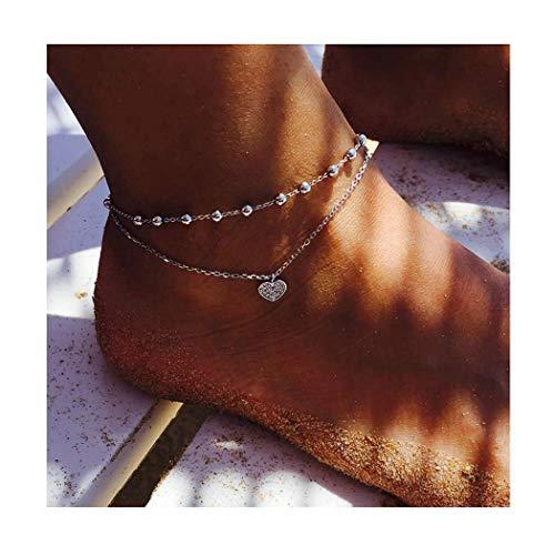 Edary Boho-Fußkettchen, Doppelherz, Vintage-Stil, Perlenkette, Fußkettchen, Modeschmuck für Damen und Mädchen