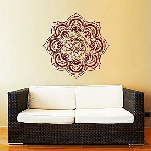 Mandala Wall Decal Yoga Studio Vinyl Sticker Decals Ornament Moroccan Pattern Namaste Lotus Flower Home Decor Boho Bohemian Wall Decal Bedroom Dorm ZX159