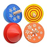 BrawljRORty Toys, 4Pcs Colorful Wooden Desktop Spinning Top Peg-Top Gyro Toy Children Kids Gift