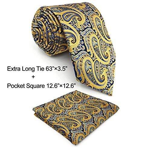 Shlax&Wing Mens Necktie Ties Yellow Blue Paisley Silk New Fashion Wedding