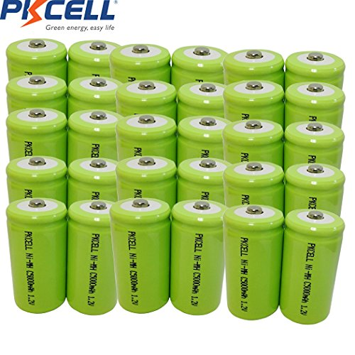 1.2V C 5000mAh NIMH Rechargeable Battery Button Top 30Pcs by PK Cell