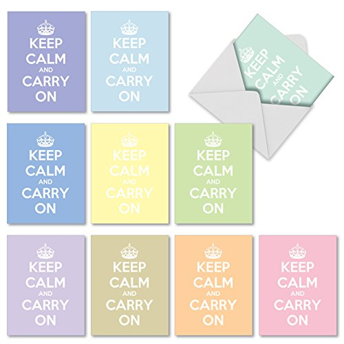 10 'Calm and Colorful' Note Cards with Envelopes 4 x 5.12 inch, Assorted Blank Greeting Cards with Trendy Keep Calm Theme, All Occasion Stationery for Weddings, Baby Showers, Birthdays -