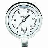Winters PFP Series Premium Stainless Steel 304 Single Scale Liquid Filled Pressure Gauge, 0-100 psi, 2-1/2